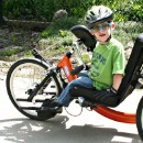 Child on handcycle